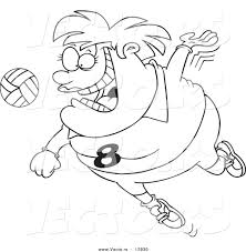 Vector Of A Cartoon Chubby Female Volleyball Player Jumping To Hit The Ball