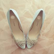 Light Blue With Silver Glass Crystal Beadings Wedding Shoes