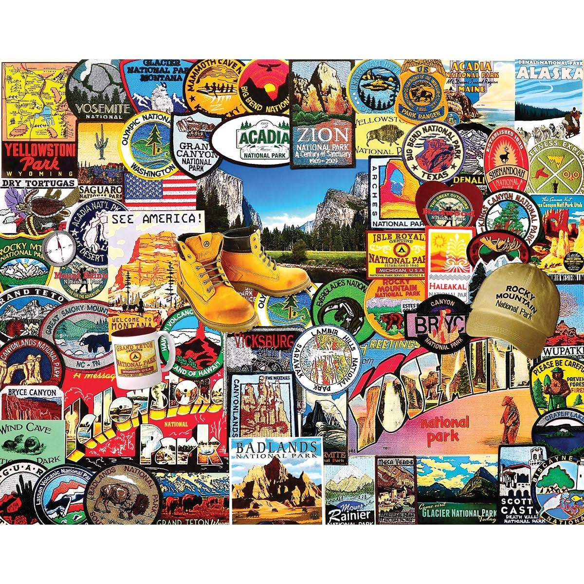 White Mountain Puzzles National Park Badges Jigsaw Puzzle - 1000pcs
