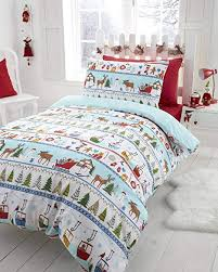 Christmas Tree Xmas Snowflake Reversible Quilt Duvet Cover And Pillowcase Bedding Bed Set Multi