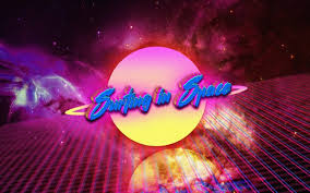 Neon Space Vintage Retro Style Digital Art Typography HD Wallpaper Desktop