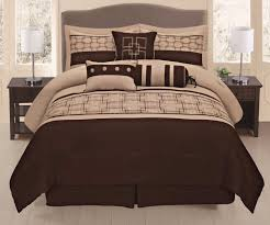 queen size comforter set piece brown beige geometric bedding
