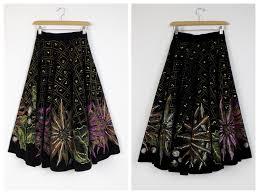 1950 u0027s novelty circle skirt 50 u0027s hand painted black velvet