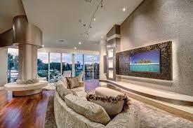 miami living room wall ideas modern with curved sofa nickel track
