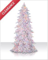 White Flocked Pencil Christmas Tree by 7 5 Ft Flocked White Fir Multi Lit Tree Christmas Tree Market