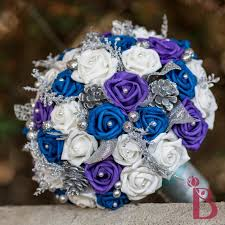 Royal Blue And Purple Bouquet Winter Wedding Silver Bridal Pearl Accents