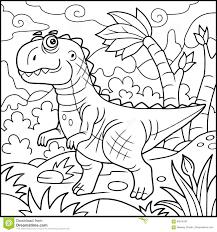 Tyrannosaure Drôle Livre De Coloriage Illustration De Vecteur