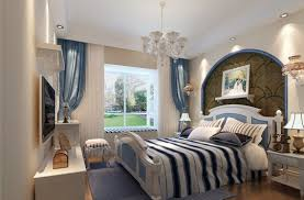 Interior Amazing Bedroom Mediterranean Design Idea With Cute Bed Too Lush Backgraound Between Table