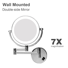 led 8 inch two side lighted wall mount makeup cosmetic mirror 7x