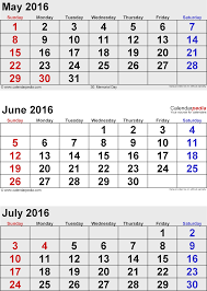 July 2016 Calendars For Word Excel PDF