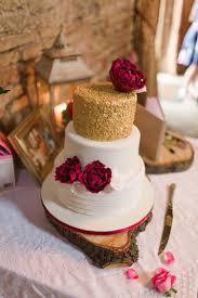 Gold White Cake Table Flowers Burgundy Wood Slice Rustic Glam Barn Wedding