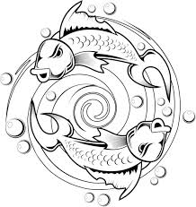 Kids Coloring Pages Of A Koi Fish Tattoo Design