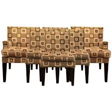 Checkered Dining Chairs With Tapered Legs