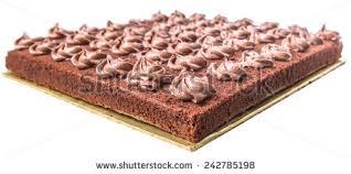 Chocolate sheet cake over white background