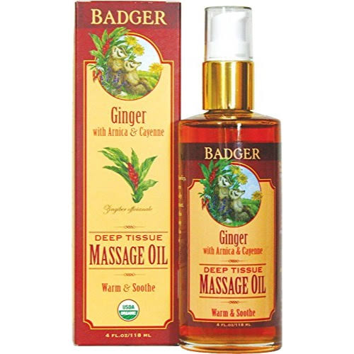 Badger Company Deep Tissue Massage Oil - Ginger with Arnica and Cayenne, 4oz