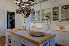 Butcher Block Countertops Dark Cabinets Kitchen Traditional With Hanging Pot Rack Country Island Lighting