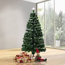 HomCom 75 Artificial Rotating Pre Lit Multicolor Star LED Christmas Tree With Stand
