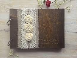 Wooden Guestbook Wedding Guest Books Burlap Lace Book Rustic GuestBook Custom 2367251