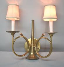 frederick cooper brass horn two socket wall sconce