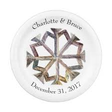 Rustic Snowflake Personalized Paper Plates