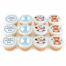 12 Blue Baby Cupcakes