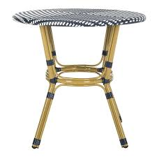 Safavieh Sidford Rattan Bistro Table - Navy/White Americana Wicker Bistro Table And Chairs Set Plowhearth Royalcraft Cannes Brown Rattan 3pc 2 Seater Cube Breakfast Ceylon Outdoor 3piece By Christopher Knight Home Hampton Bay Aria 3piece Balcony Patio Sirio Valentine Swivel Ellie 3 Piece Folding Fniture W Round In Dark Outdoor Cast Alinium Rattan Ding Sets Georgina With Cushions Wilko Effect