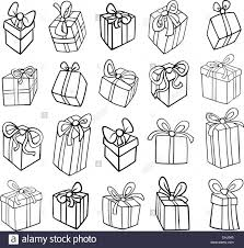 Black and White Cartoon Illustration of Christmas or Birthday Presents or Gifts Objects Clip Art Set for Coloring Book
