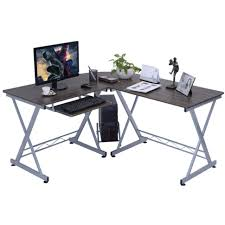 FurnitureSmall Glass Desk L Shaped Corner Table Metal Office Rustic