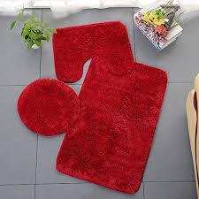 homieco einfarbiger badteppich 3 tlg weiches saugfähiges rutschfestes badteppich set teppiche und toilettendeckel waschbar rot