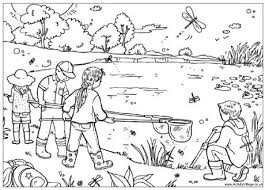 Pond Dipping Colouring Page