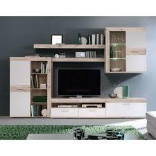 wohnwand anbauwand schrankwand wohnzimmer weiss sandeiche woody 77 00511