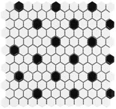 white hexagon black dot glazed ceramic mosaic floor and wall tile