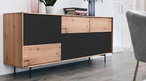interliving esszimmer serie 5602 sideboard anthrazitfarbener lack helle wildeiche zwei klappen drei schubladen