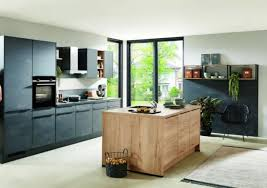 nobilia küche mit mittelinsel schwarzbeton eiche