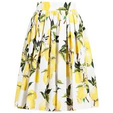 women summer high waist lemon print skater flared pleated long