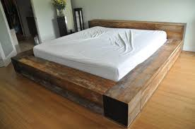 Simple Platform Bed Furniture In Rustic Style White Bedding