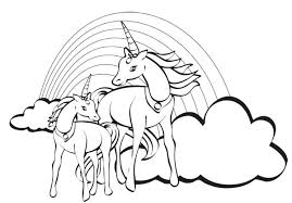 Unicorn Color Pages Two With A Rainbow At Their Back Coloring Page Colouring