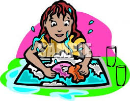 Royalty Free Clip Art Image Little Girl Washing Dishes