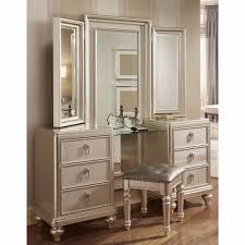 Bedroom Vanity Dresser Set by Goddess Vanity Dresser With Stool And Tri View Mirror