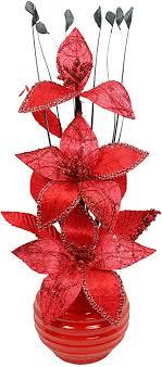 flourish kunstblumen im topf dekoration wohnung modern deko wohnzimmer 32cm rot