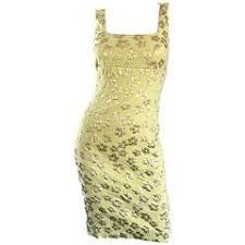 New Michael Kors Collection Mint Green Gold Silk Plisse Flower Dress Size 2