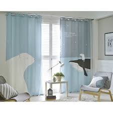 Baby Blue Animal Print Polyester and Linen Kids Curtains
