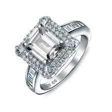 Bling Jewelry 925 Silver Vintage Style Emerald Cut CZ Engagement Ring