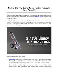 100 Magliner Hand Trucks PPT Offers TopQuality Materialling Products
