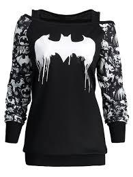 Halloween Date 2014 Nz by Bat Print Plus Size Halloween Sweatshirt Black Xl In Plus Size