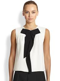 marc jacobs sleeveless silk bowtie blouse in white lyst