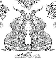 Hand Drawn Seamless Pattern Of Ethnic Elephants Vector Illustration In Zentangle Style Isolated On White