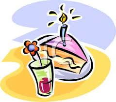 A Glass of Juice and a Slice of Birthday Cake Clipart Picture