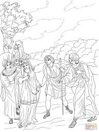 Isaac First Meets Rebekah Coloring Page Inside And