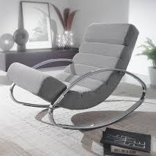 wohnling relaxliege grau silber 110 kg belastbar relaxsessel 61x81x111 cm design schaukelstuhl innenbereich schwingstuhl lounge liege modern